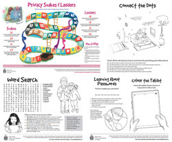images of four privacy activity sheets